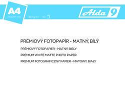 ALDA9 Fotopapír A4 180 g/m2, premium matný, bílý, 50 listů